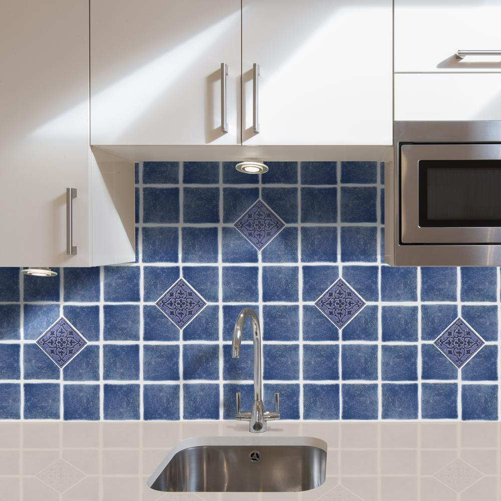 . Vinyl 4 in  x 4 in  Blue Self Sticking Wall Decorative Wall Tile  27 Tiles  per Box