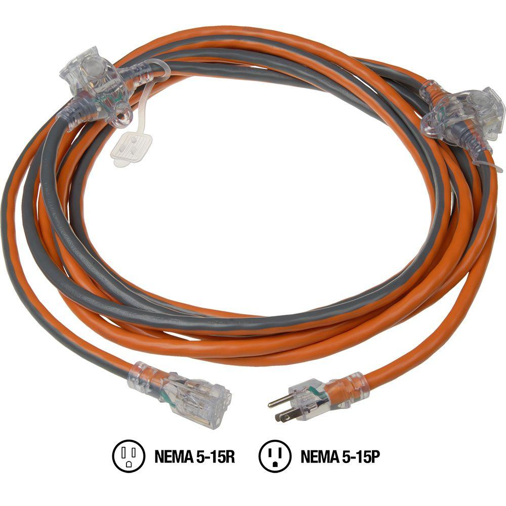 RIDGID 25 ft. 14/3 Inline 3-Outlet Extension Cord
