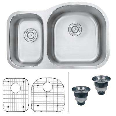 Undermount Stainless Steel 32 in. 16-Gauge 40/60 Double Bowl Kitchen Sink - Right Configuration