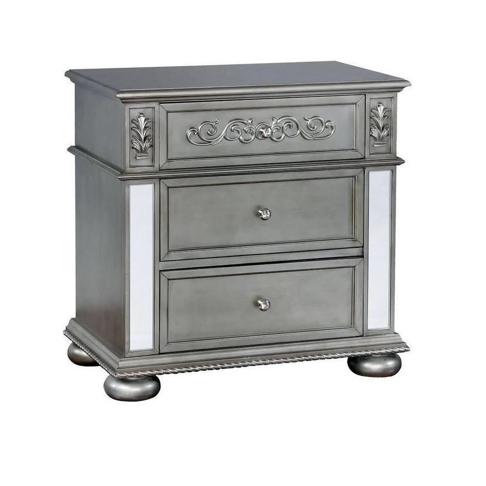 Azha Traditional Style Silver NightStand
