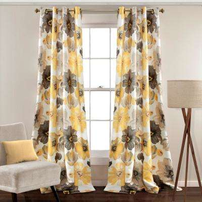 Leah 95 in. x 52 in. 100% Polyester Window Panels in Yellow
