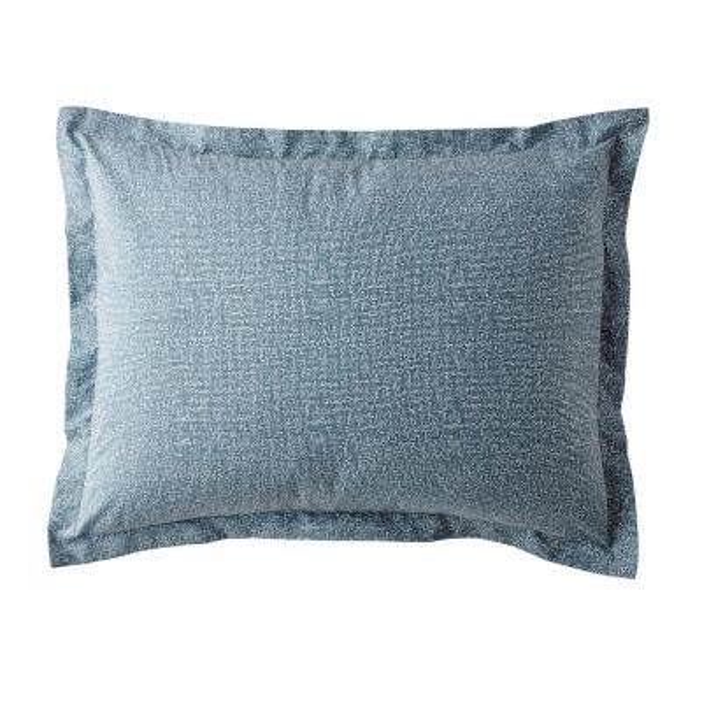 LoftHome Maze Denim Blue Geometric 200-Thread Count Organic Cotton Percale Standard Sham