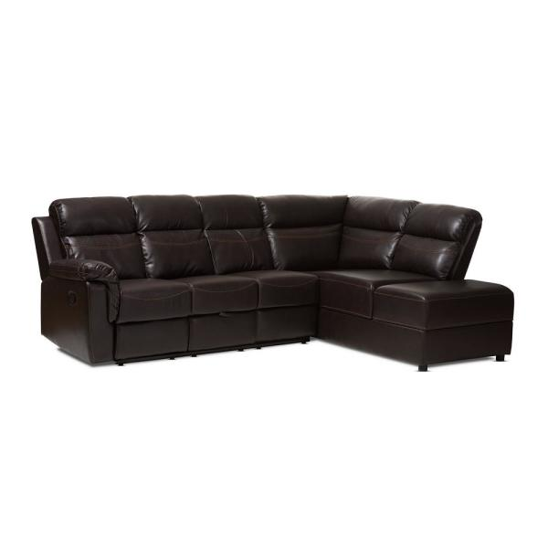 Roland 2-Piece Brown Faux Leather 6-Seater L-Shaped Right-Facing Chaise Reclining Sectional Sofa