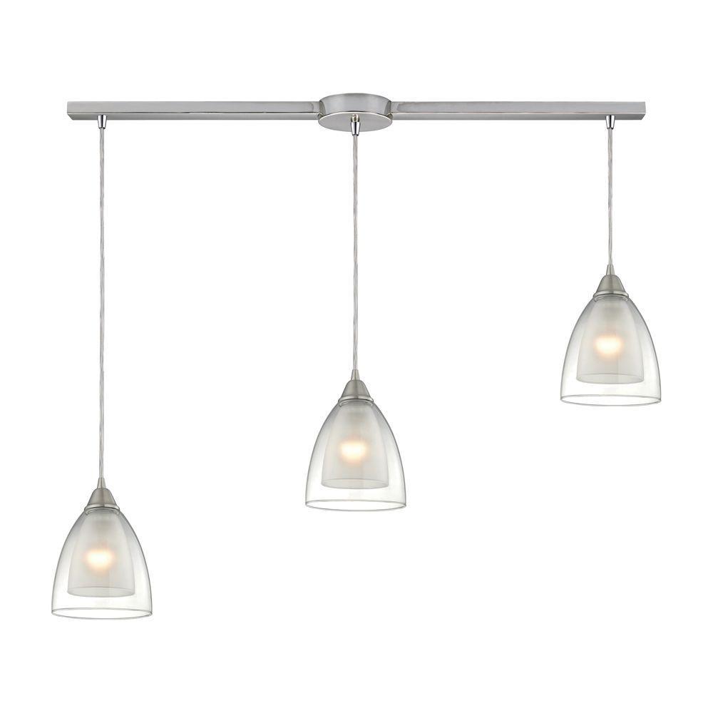 Titan Lighting Layers 3-Light Satin Nickel Pendant