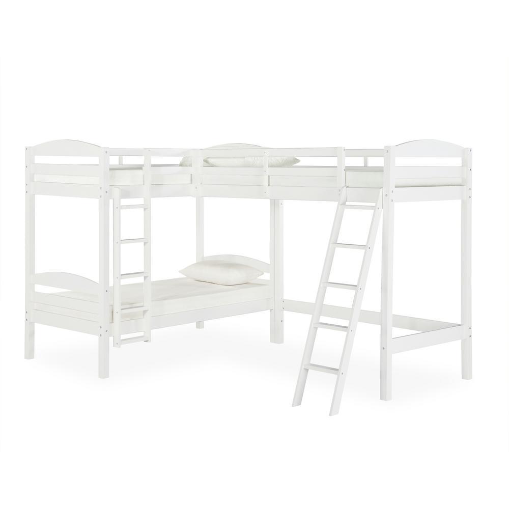 Lottie White Triple Twin Bunk Bed