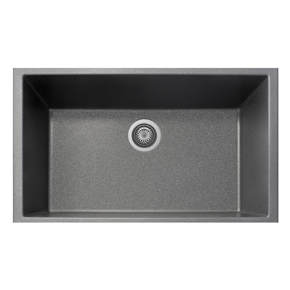 la toscana one undermount granite composite 19 5 in  single bowl kitchen sink in titanium on8410st 42   the home depot la toscana one undermount granite composite 19 5 in  single bowl      rh   homedepot com