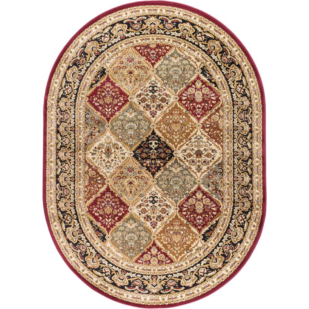 tayse rugs sensation red 6 ft 7 in x 9 ft 6 in oval traditional area rug 4770 red 7x10 oval. Black Bedroom Furniture Sets. Home Design Ideas