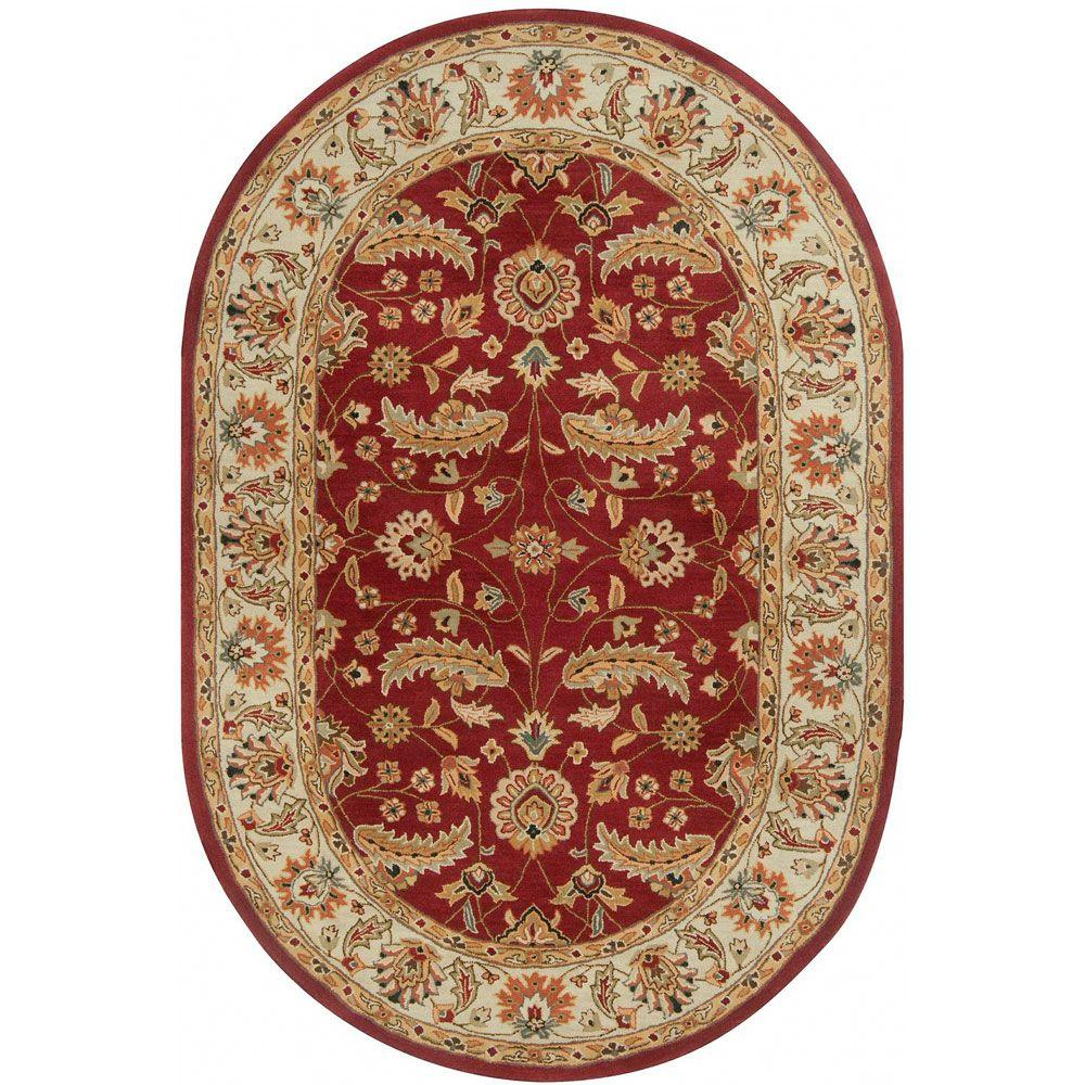 John Red 6 ft. x 9 ft. Oval Area Rug