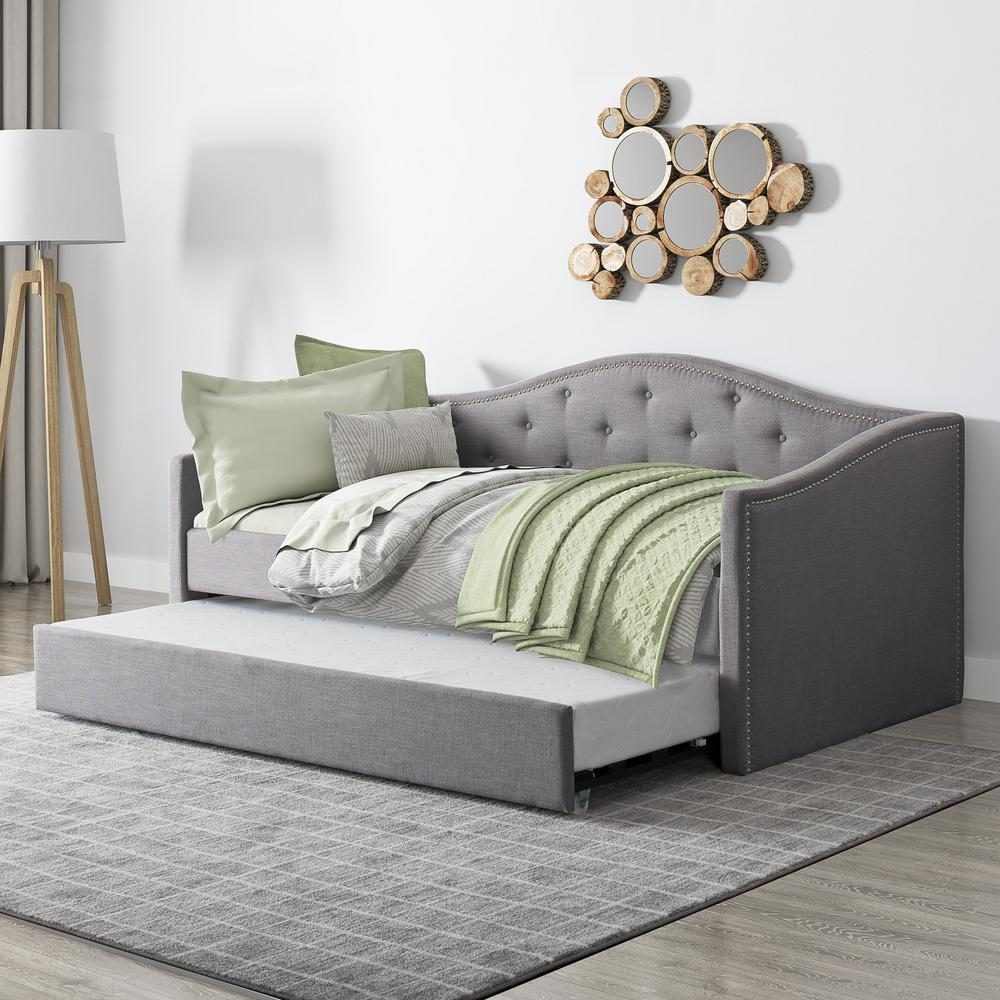 Corliving Fairfield Grey Tufted Fabric Trundle Twin Single Day Bed