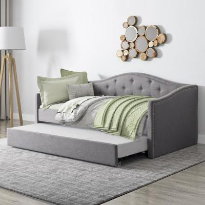 Fairfield Grey Tufted Fabric Trundle Twin/Single Day Bed