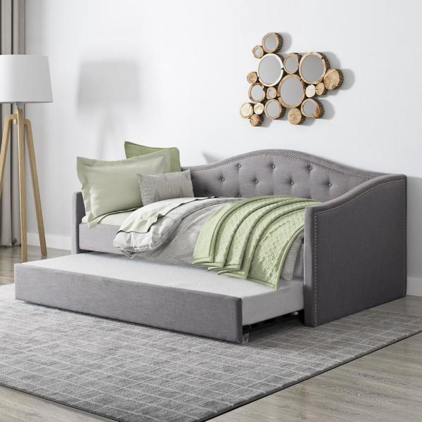 Day Bed.Corliving Fairfield Grey Tufted Fabric Trundle Twin Single Day Bed