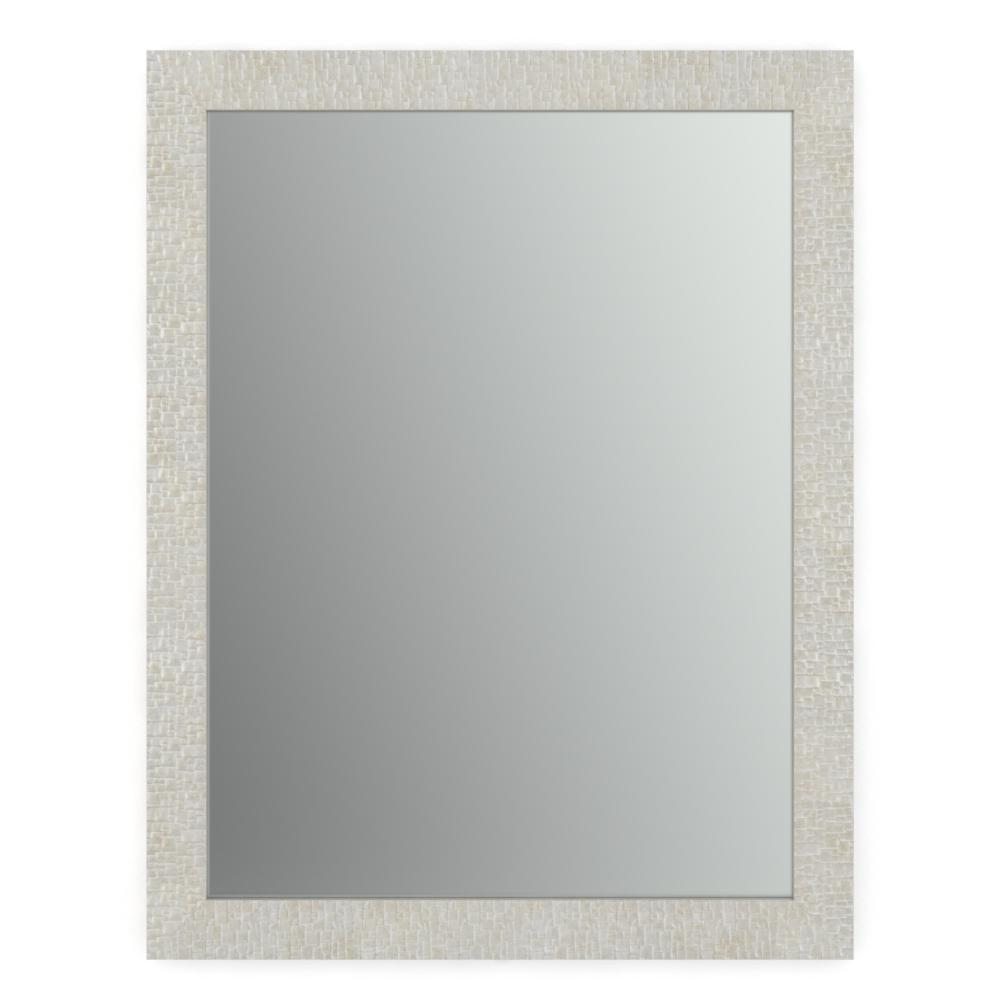 28 in. W x 36 in. H (M1) Framed Rectangular Standard Glass Bathroom Vanity Mirror in Stone Mosaic