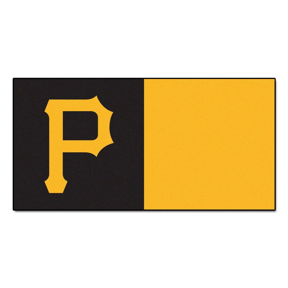 FANMATS MLB - Pittsburgh Pirates Yellow and Black Nylon 18 in. x 18 in. Carpet Tile (20 Tiles/Case)