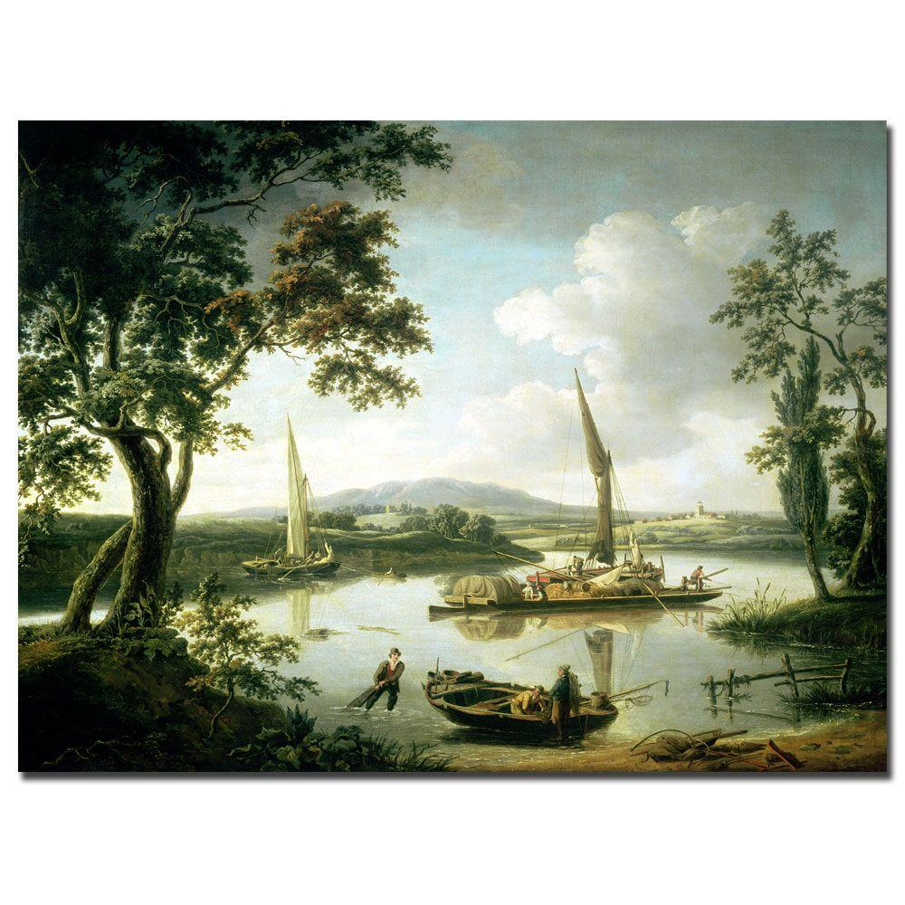 Trademark Fine Art 35 in. x 47 in. View of the Thames from Shillingford Canvas Art