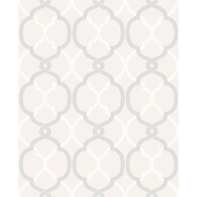 Mungo Off-White Quatrefoil Wallpaper Sample