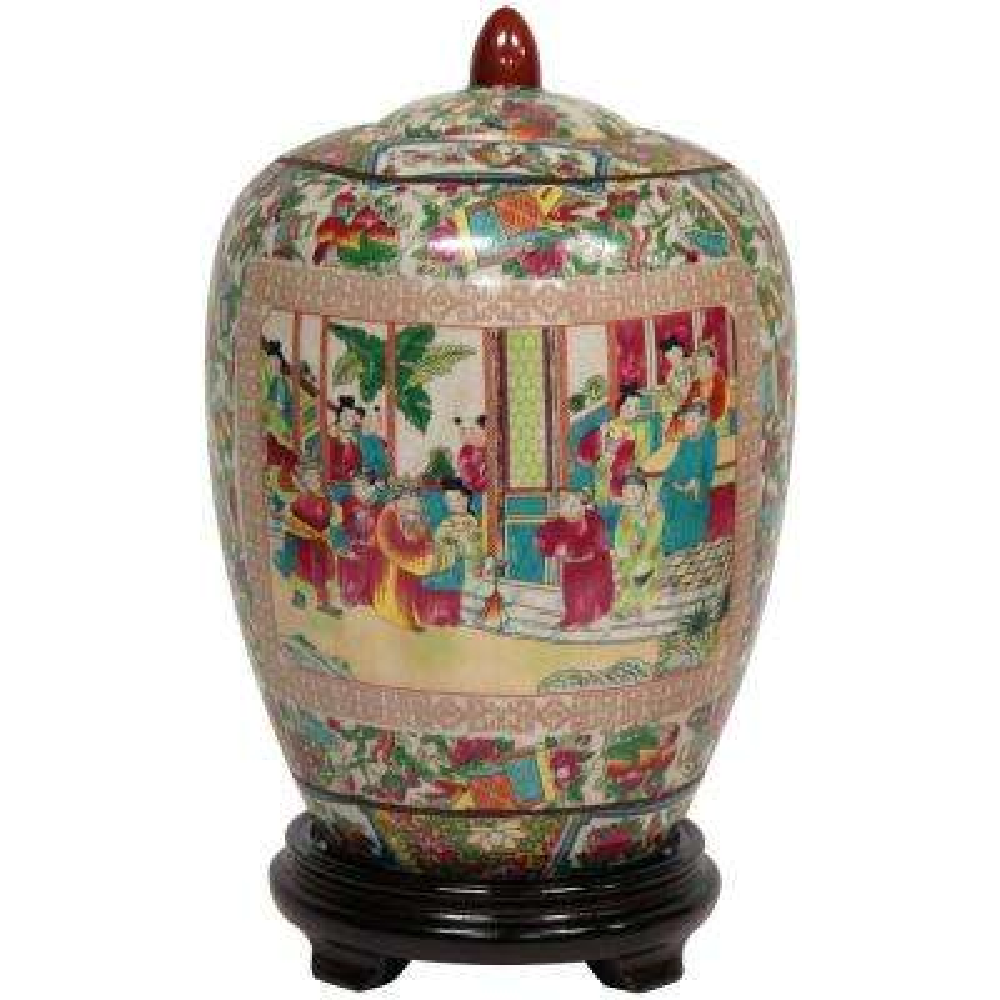 Oriental Furniture 11 in. Porcelain Decorative Vase in Red
