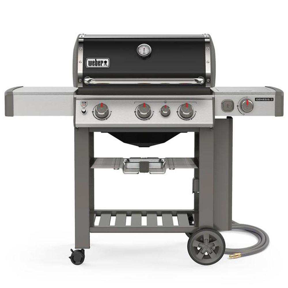Weber Genesis II E-330 3-Burner Natural Gas Grill in Black with Built-In Thermometer and Side Burner