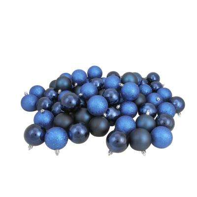 2.5 in. (60 mm) Sapphire Blue Shatterproof 4-Finishes Christmas Ball Ornaments (60-Count)