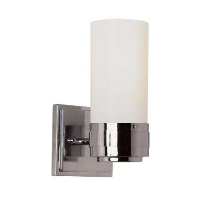 Fusion 1-Light Polished Chrome Wall Sconce with Opal Glass