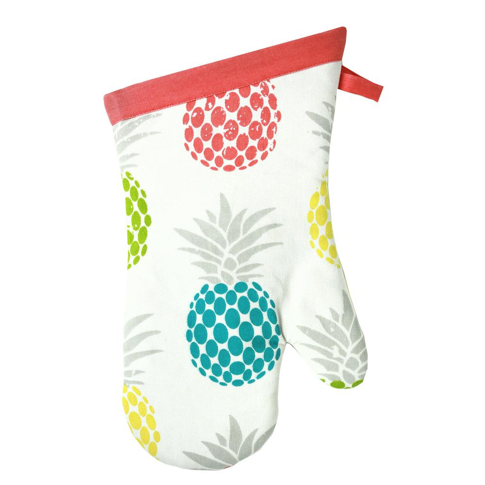 Designer Print Multi Pineapple Medley Cotton Mitt (Set of 2)
