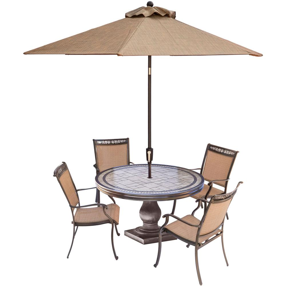 Hanover fontana 5 piece aluminum round outdoor dining set for Patio table and umbrella sets