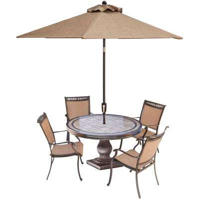 Fontana 5-Piece Aluminum Round Outdoor Dining Set with Tile-Top Table, Umbrella and Base