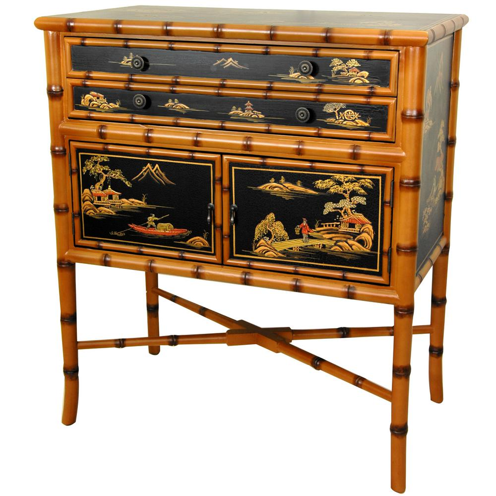 Oriental Furniture Light Brown Bamboo Ching Two Drawer Cabinet
