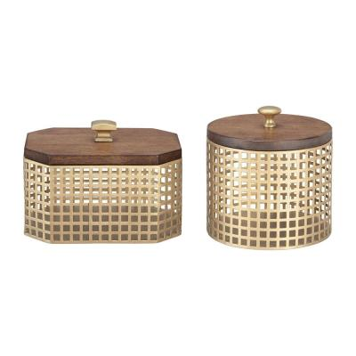 Home Decorators Collection Round and Octagonal Gold Metal Decorative Basket with Wood Lid (Set of 2)