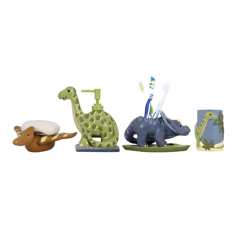 Dinosaur 4-Piece Kids Bathroom Accessories Set in Blue/Green and Brown