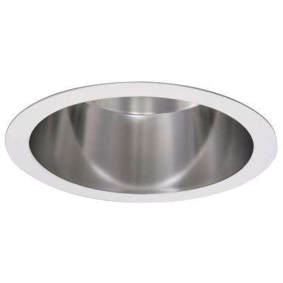 PD 6 in. Commercial Vertical Parabolic Specular Clear Reflector with White Flange Recessed Ceiling Light Trim