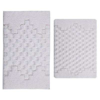 Melange White 20 in. x 30 in. and 40 in. x 24 in. 2-Piece Bath Rug Set