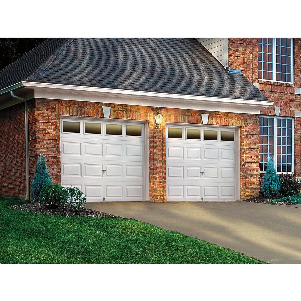 Clopay Classic Collection 9 Ft X 7 Ft 6 5 R Value Insulated White Garage Door With Plain Windows 2050 The Home Depot