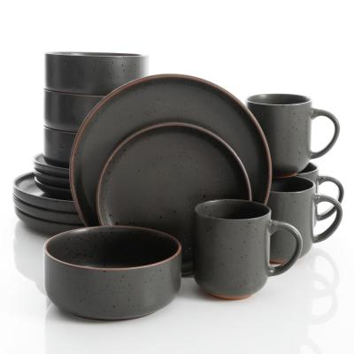 Black Sand 16-Piece Contemporary Black Terra Cotta Dinnerware Set (Service for 4)