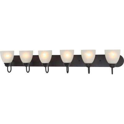 Mari 6-Light Indoor Antique Bronze Bath or Vanity Light Bar or Wall Mount with White Frosted Glass Bell Shades