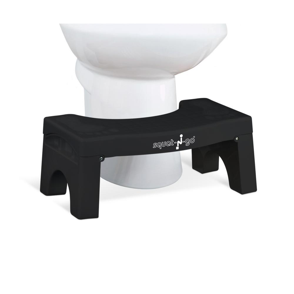 7 in. Foldable Squatting Toilet Stool in Black