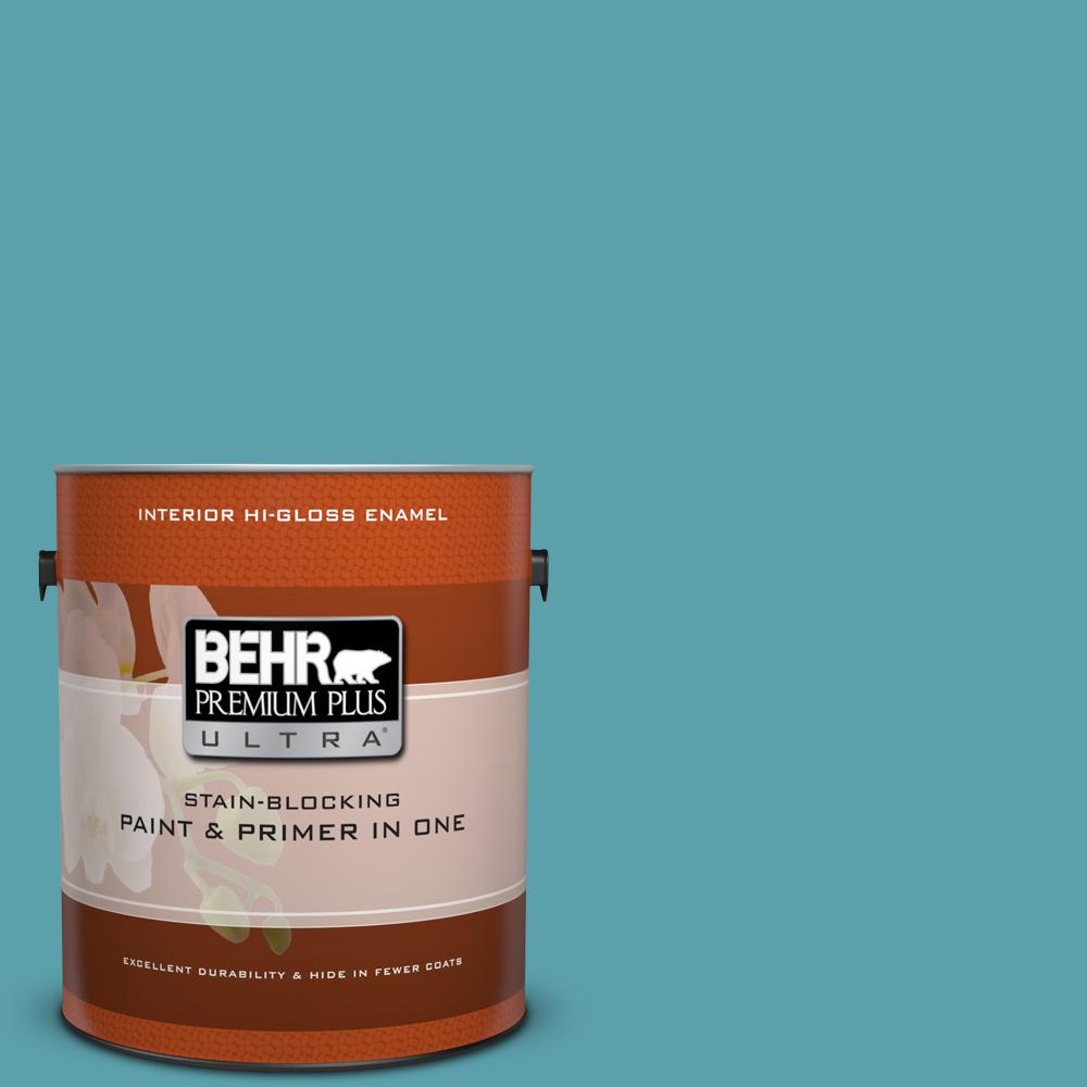Behr premium plus ultra 1 gal bic 53 turquoise hi gloss enamel interior paint and primer in for Behr interior paint and primer in one