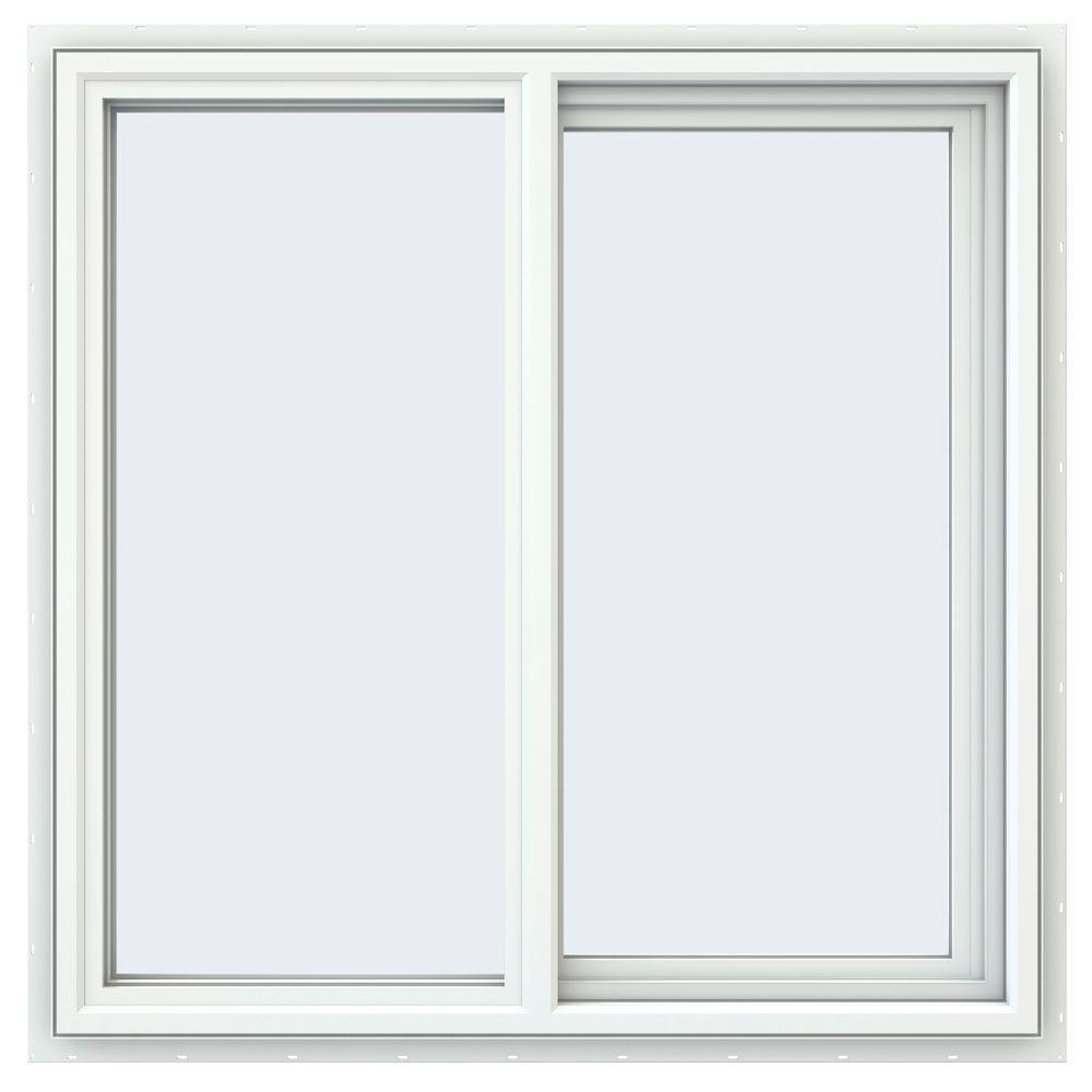 35.5 in. x 35.5 in. V-4500 Series White Vinyl Right-Handed Sliding Window with Fiberglass Mesh Screen