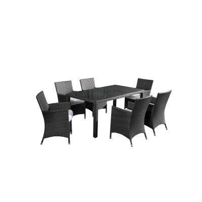 Chiasso 7-Piece All-Weather Wicker Outdoor Patio Dining Set with Off-White Cushions
