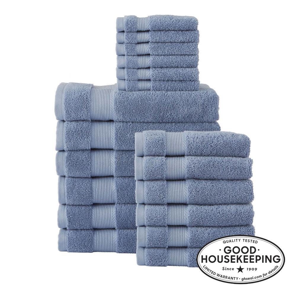 18-Piece Hygrocotton Towel Set in Washed Denim