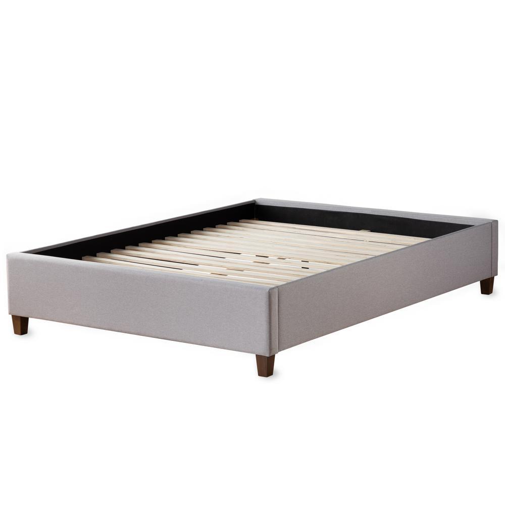 Ava Stone, Full Upholstered Platform Bed with Slats