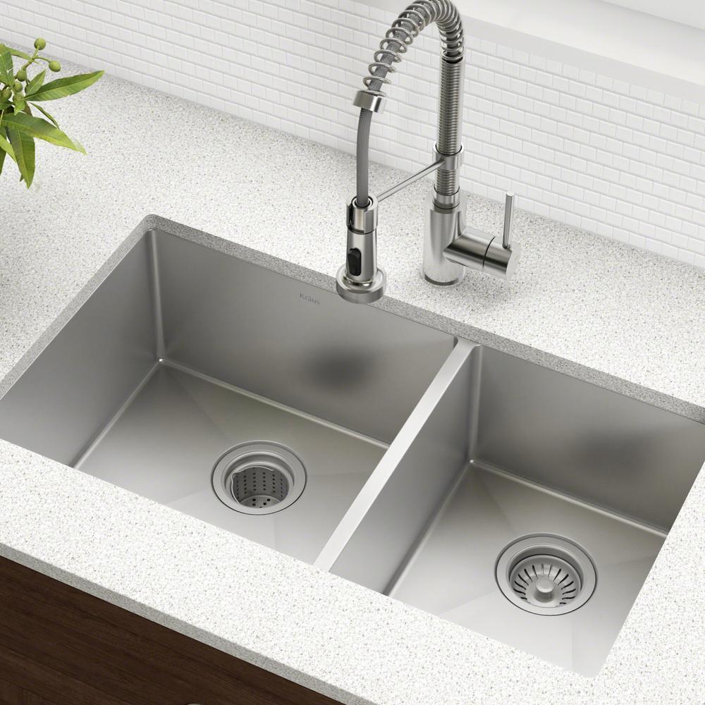 Standart PRO 33in. 16 Gauge Undermount 60/40 Double Bowl Stainless Steel Kitchen Sink