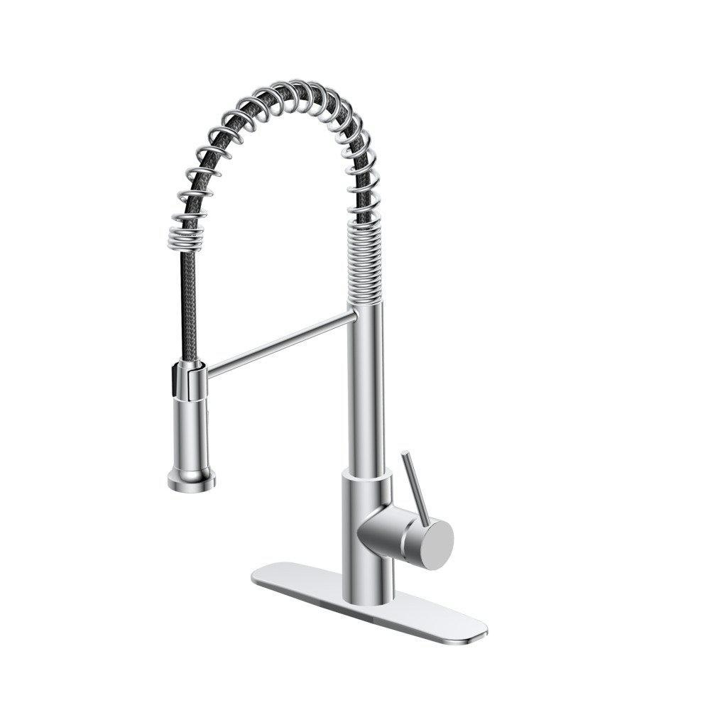 Lemist Single-Handle Coil Springneck Pull-Down Sprayer Kitchen Faucet in Chrome
