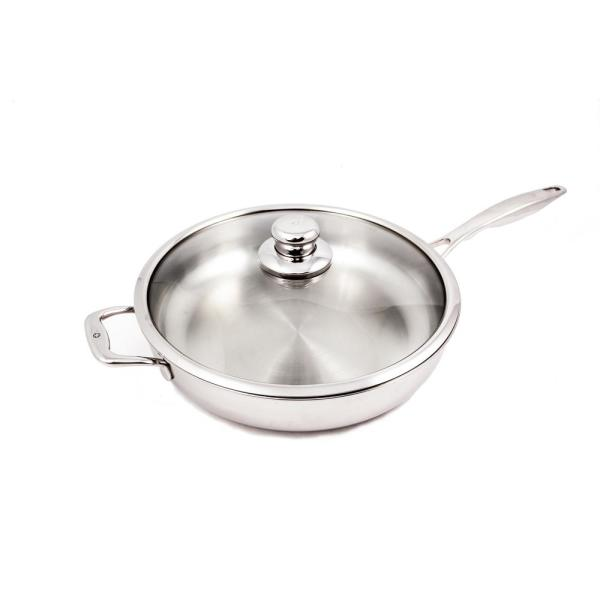 Premium Clad 5.3 qt. Stainless Steel Saute Pan with Glass Lid