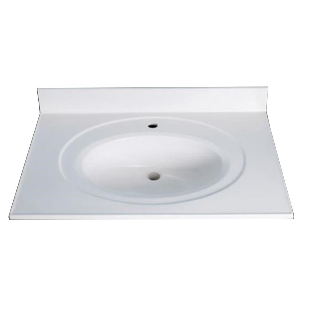 Design House 25 In. Single Faucet Hole Cultured Marble Vanity Top With  Basin In Solid