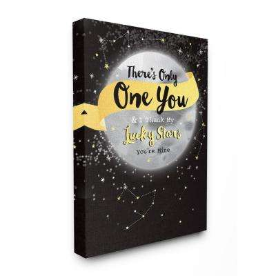 "30 in. x 40 in. ""There's Only One You Moon and Stars Space"" by A.V. Art Canvas Wall Art"