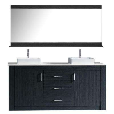 Tavian 72 in. W Bath Vanity in Gray with Stone Vanity Top in White with Square Basin and Mirror and Faucet