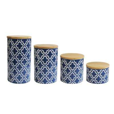 Quatrefoil 4-Piece Navy/White Ceramic Canister Set with Wood Lid