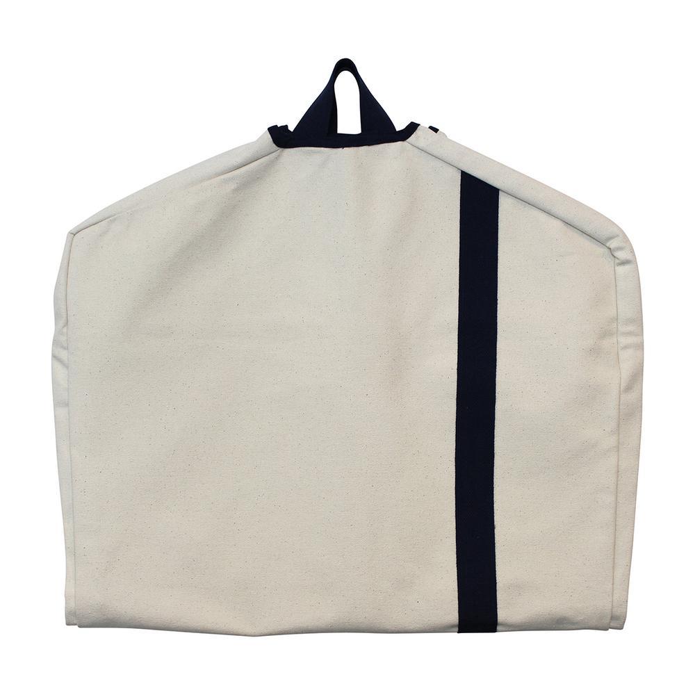 Natural and Navy Garment Bag