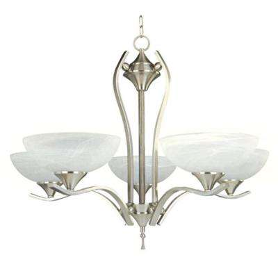 Rick 5-Light Satin Nickel Chandelier with Alabaster Glass Shade