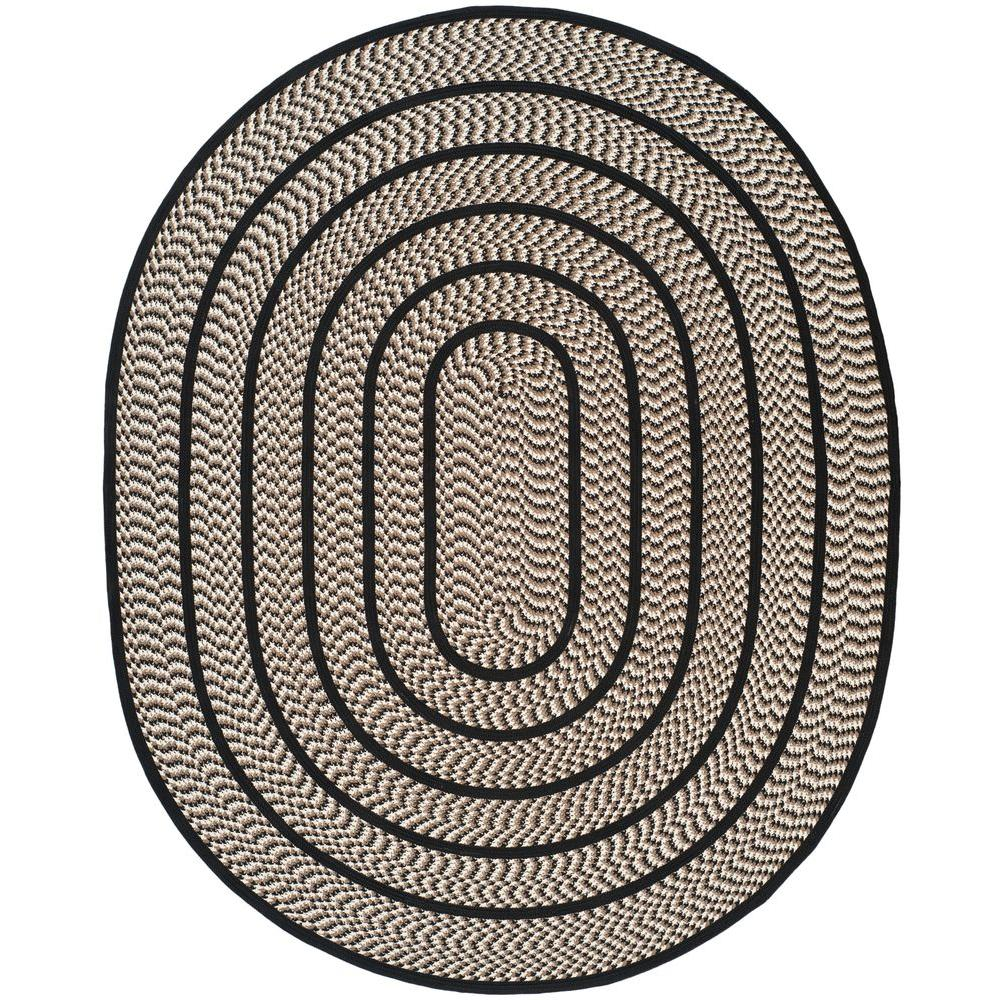 Safavieh Braided Ivory Black 8 Ft X 10 Oval Area Rug